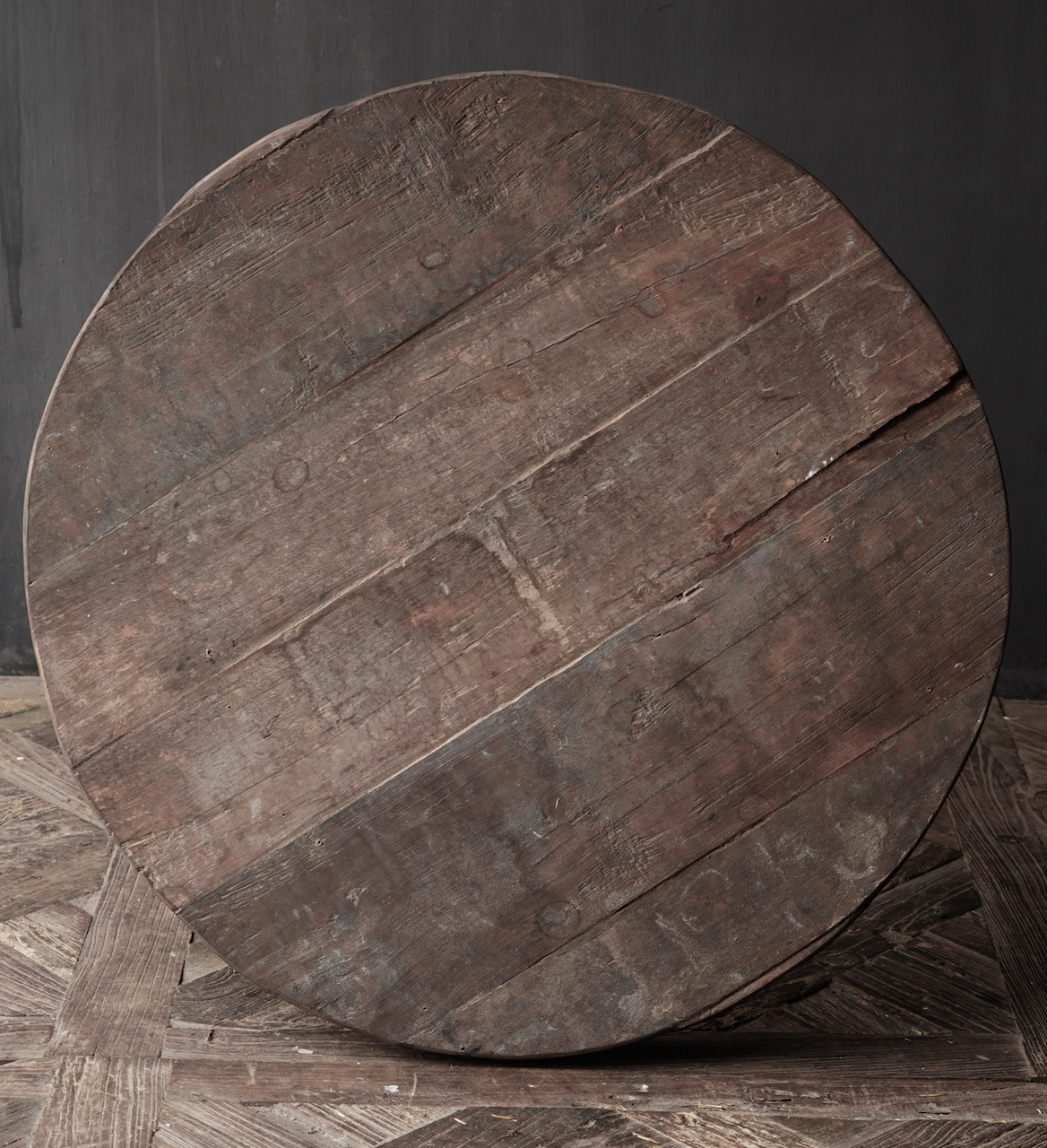 Tough round table made of old used wood-3