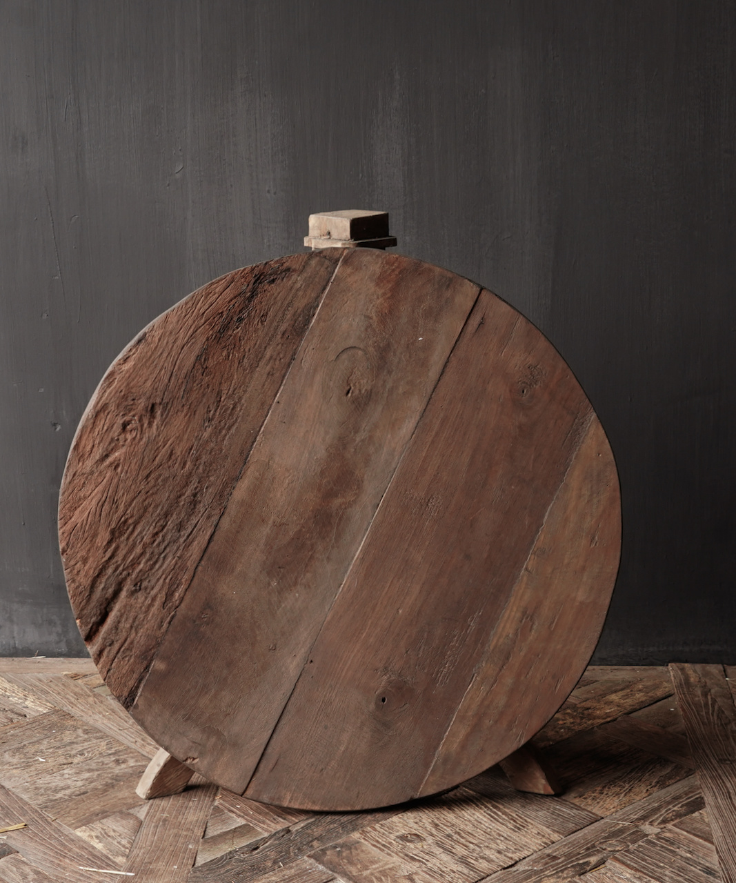 Tough round table made of old used wood-4