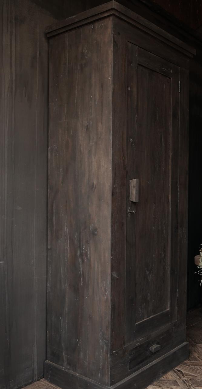 Beautiful, Tough, High dark Rural old wooden cupboard-2