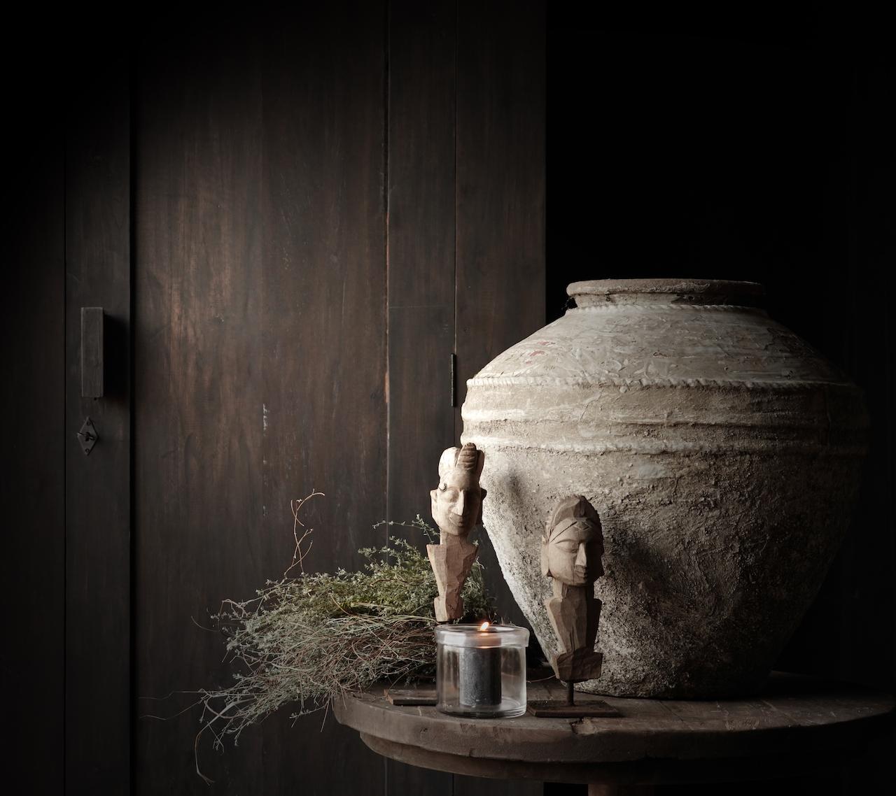 Beautiful, Tough, High dark Rural old wooden cupboard-4