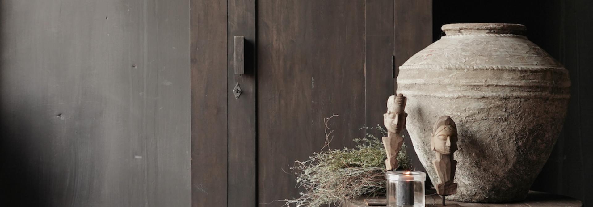 Beautiful, Tough, High dark Rural old wooden cupboard