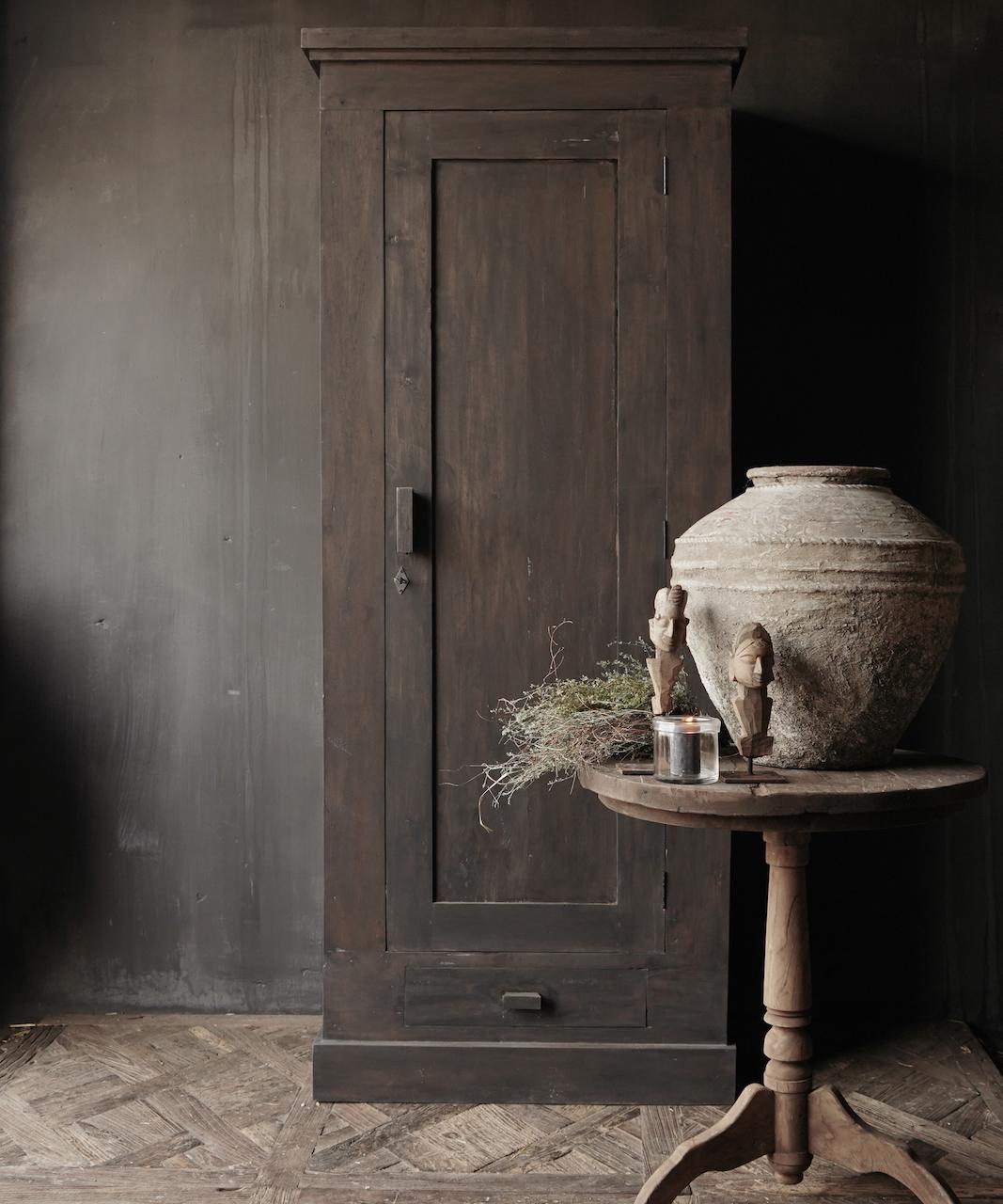 Beautiful, Tough, High dark Rural old wooden cupboard-1