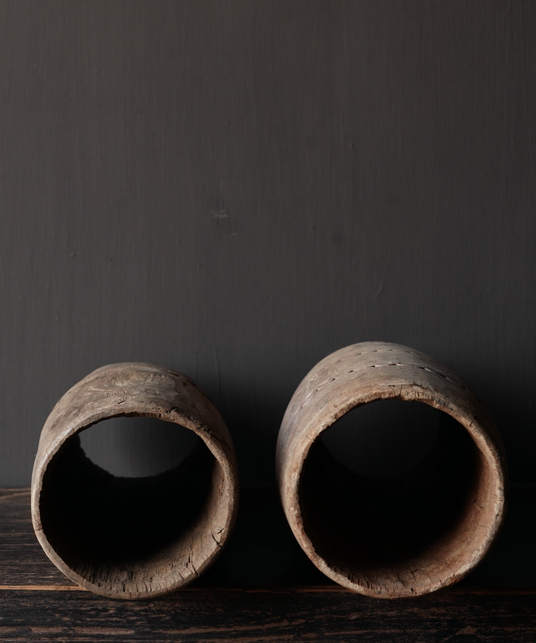 Unique old wooden vase without bottom made from an authentic drum-5