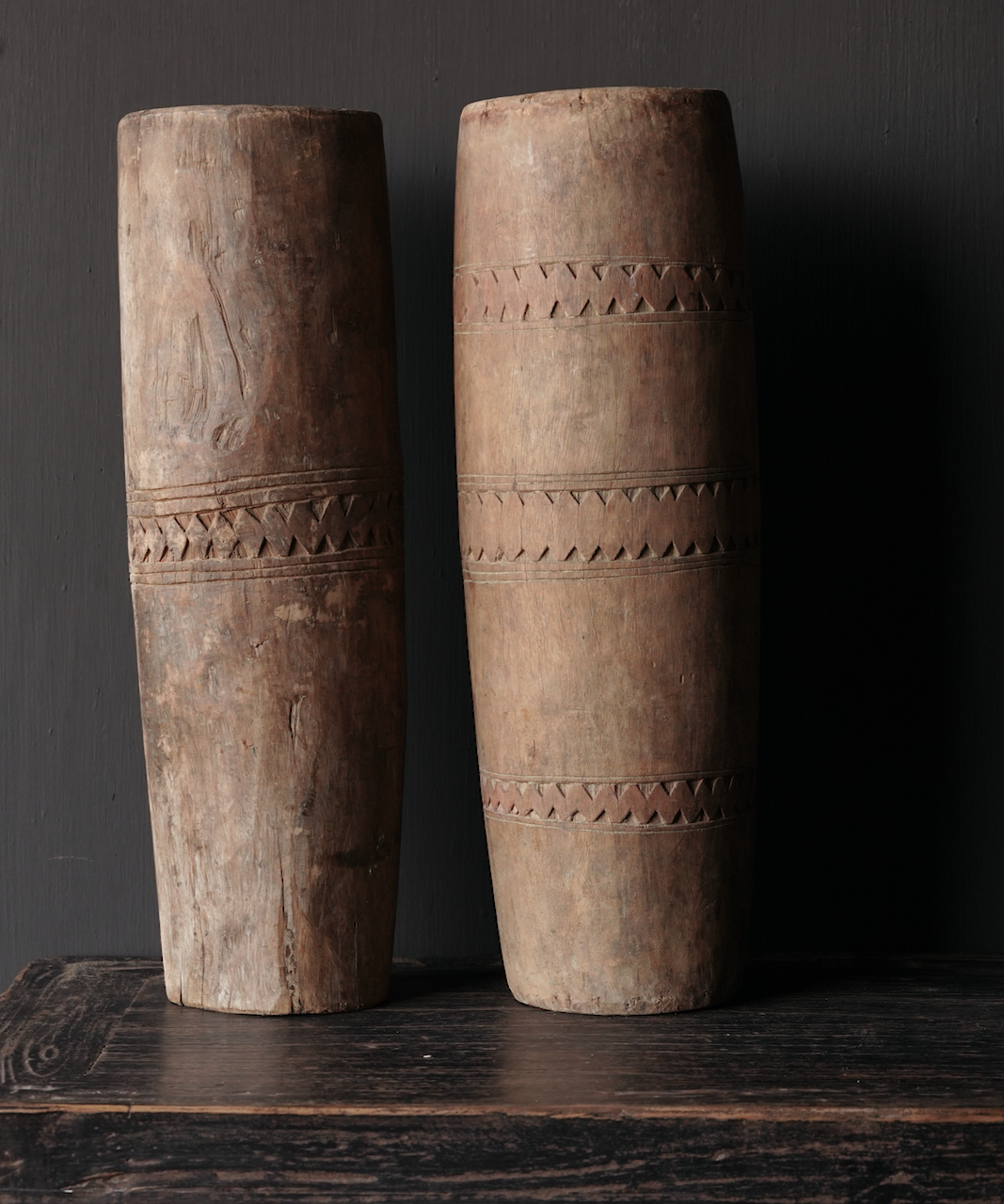 Unique old wooden vase without bottom made from an authentic drum-3