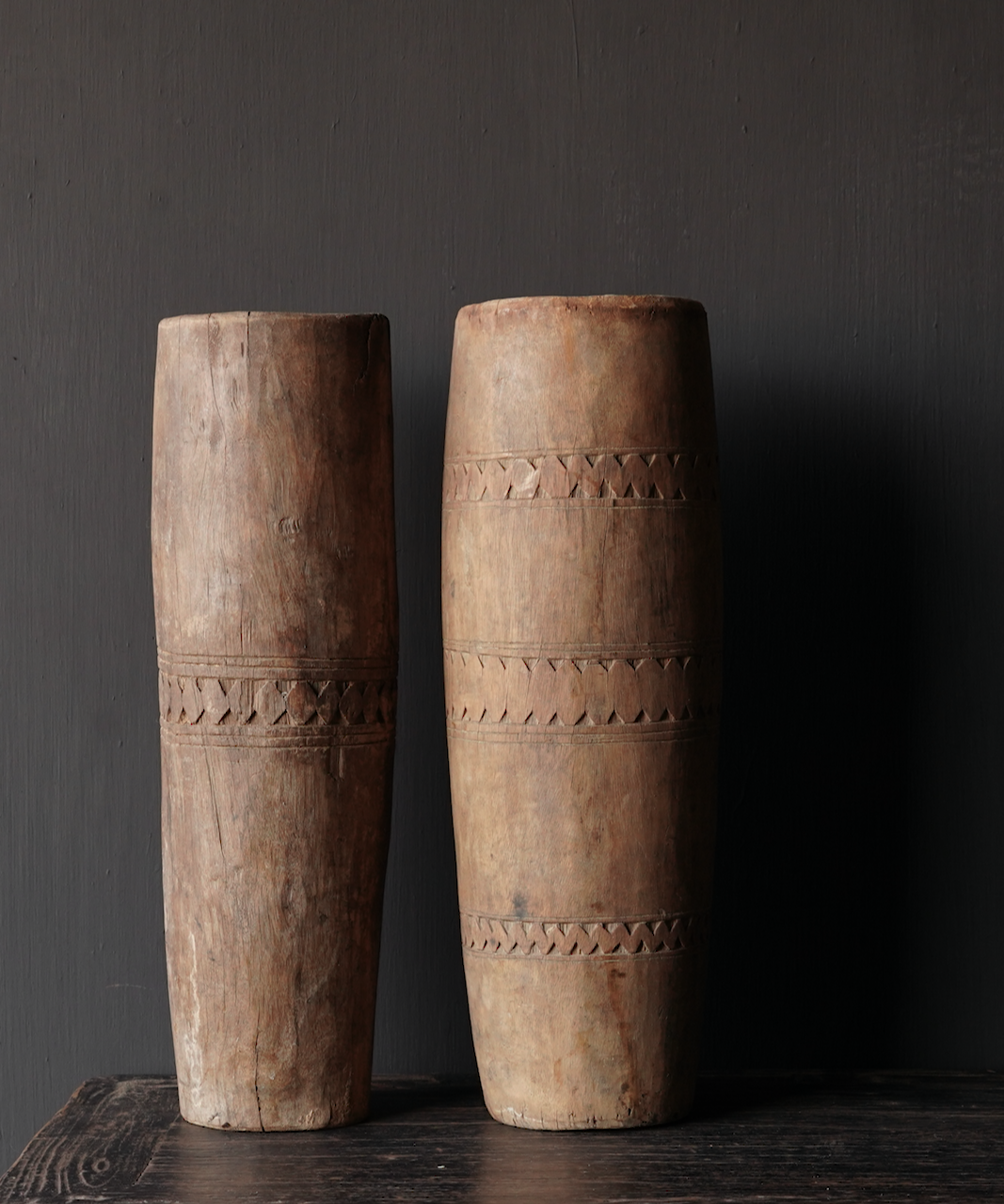 Unique old wooden vase without bottom made from an authentic drum-4