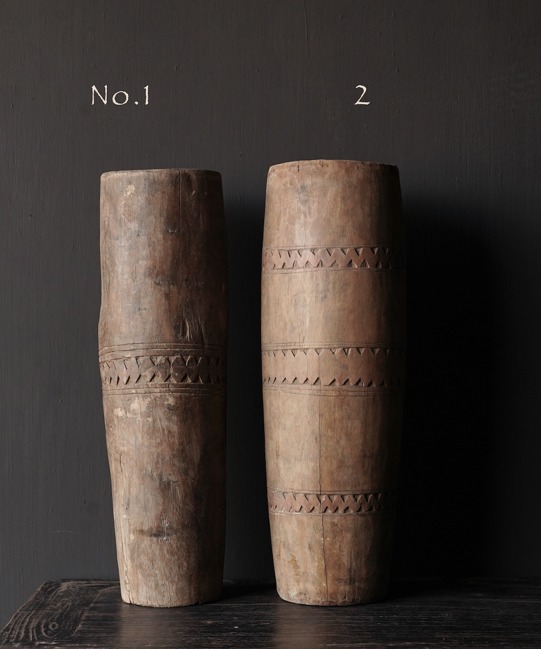 Unique old wooden vase without bottom made from an authentic drum-2