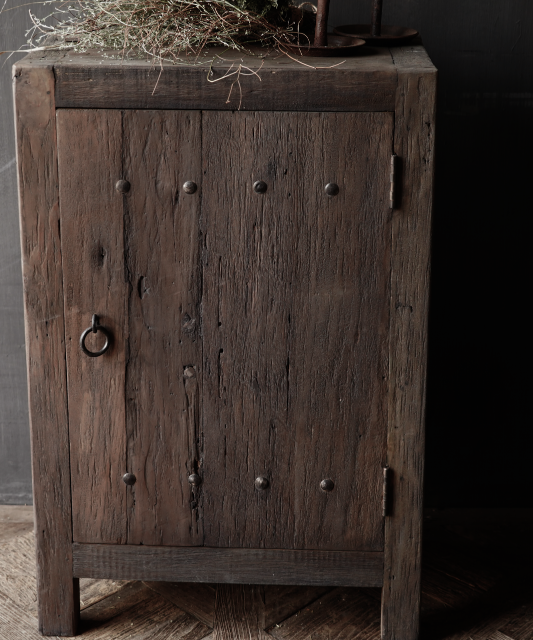 Tough one-door cabinet made of robust wood-3