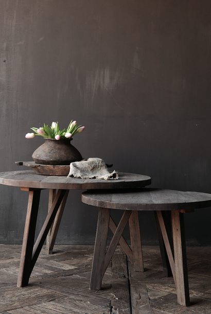 Set of Stoere Ronde Farmers gray tables
