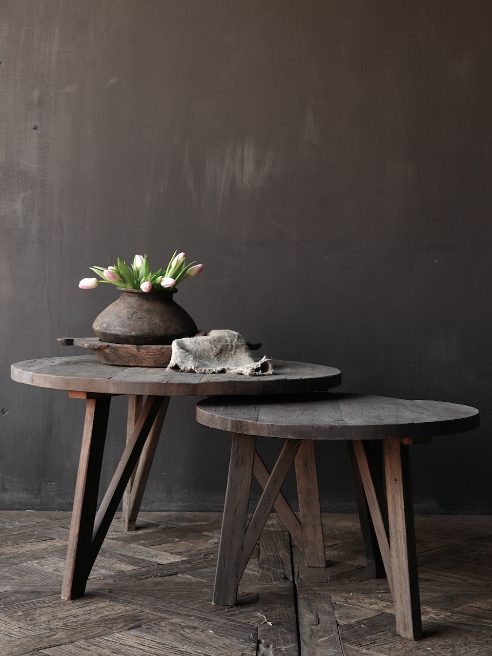 Set of Stoere Ronde Farmers gray tables-1