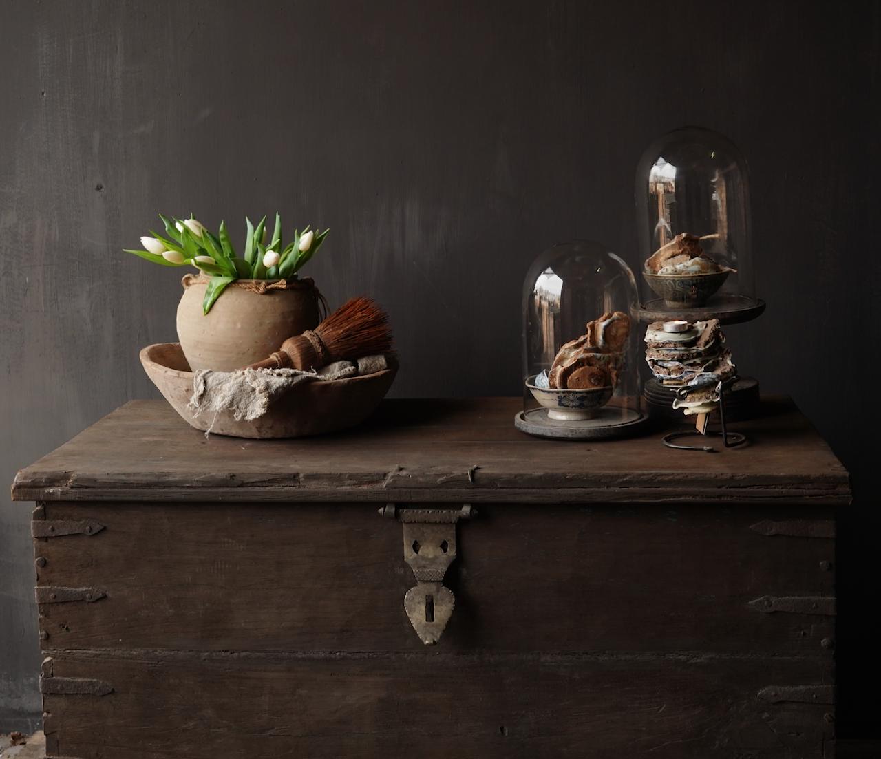 Oude Authentieke houten kist /side table-7