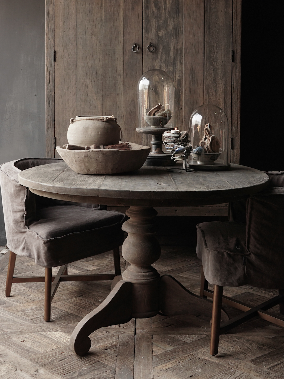 Tough Robust round table made of old used wood-3
