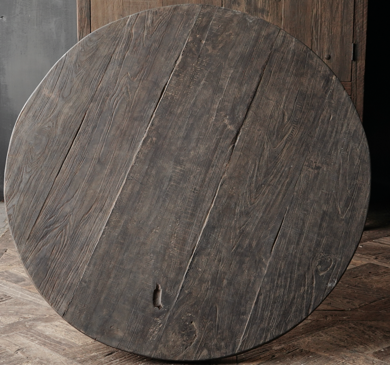 Tough Robust round table made of old used wood-6