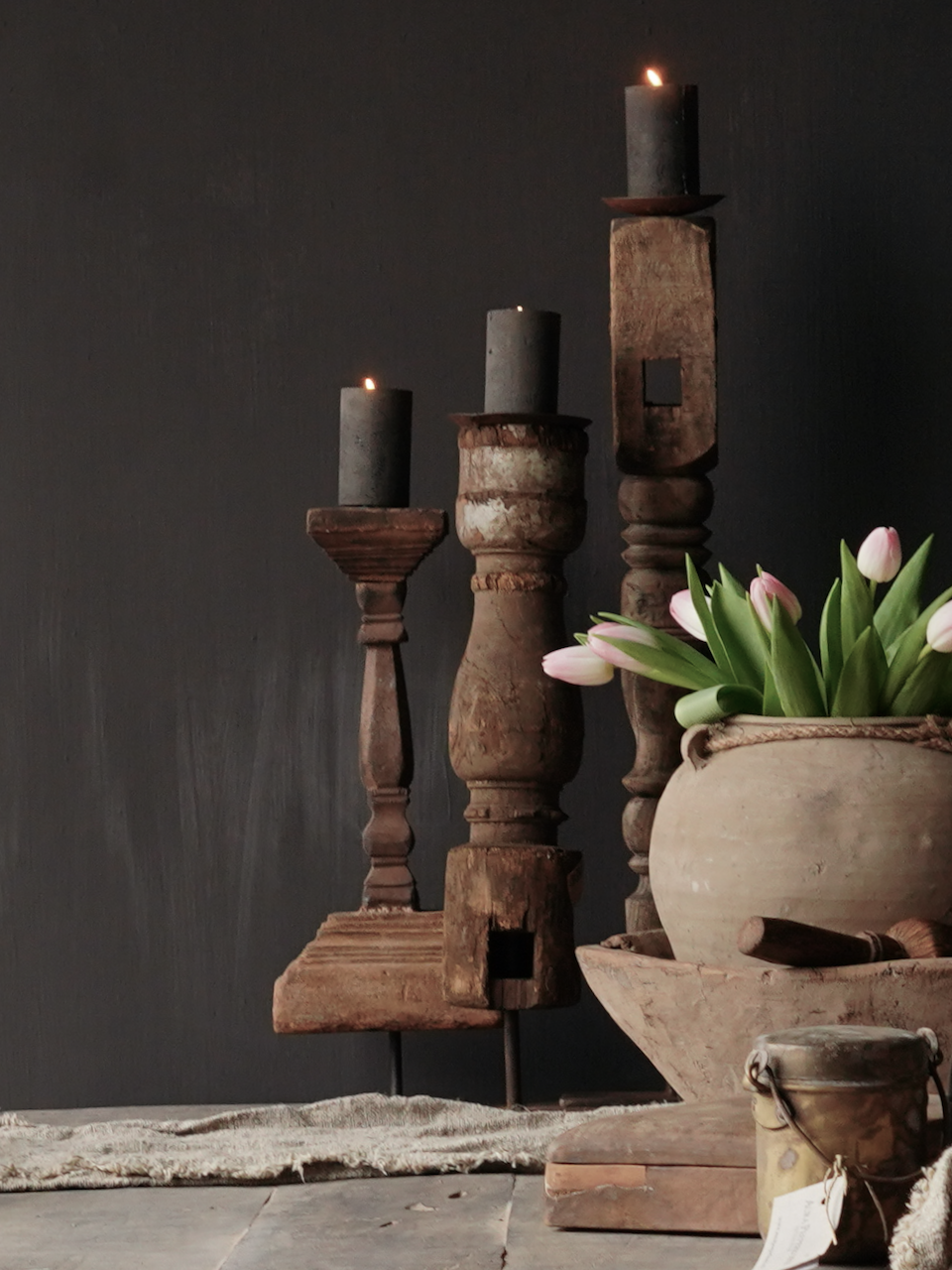 Wooden Nepalese candlestick made of old ornament-1