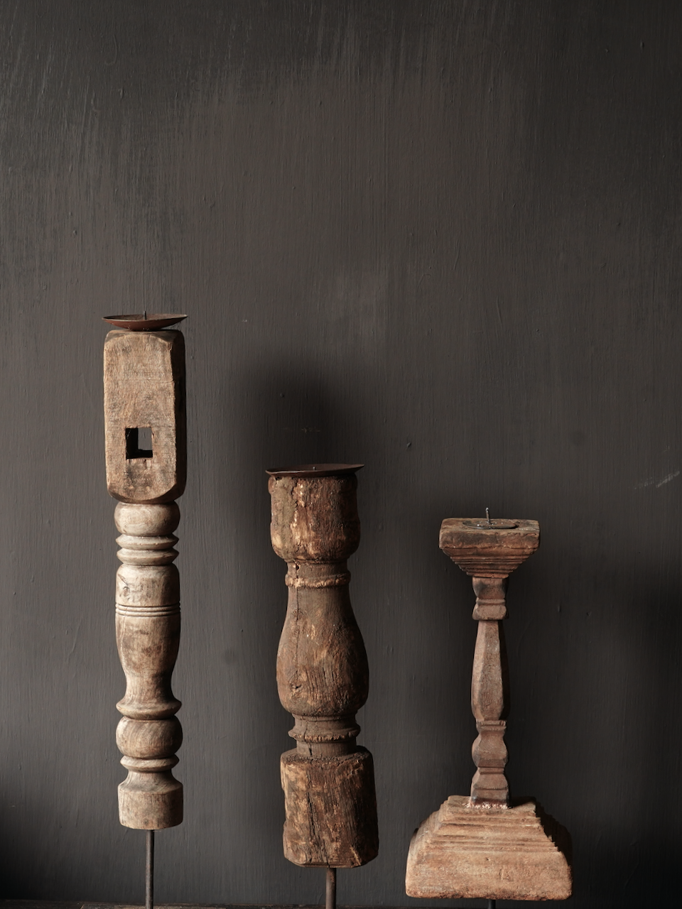 Wooden Nepalese candlestick made of old ornament-3
