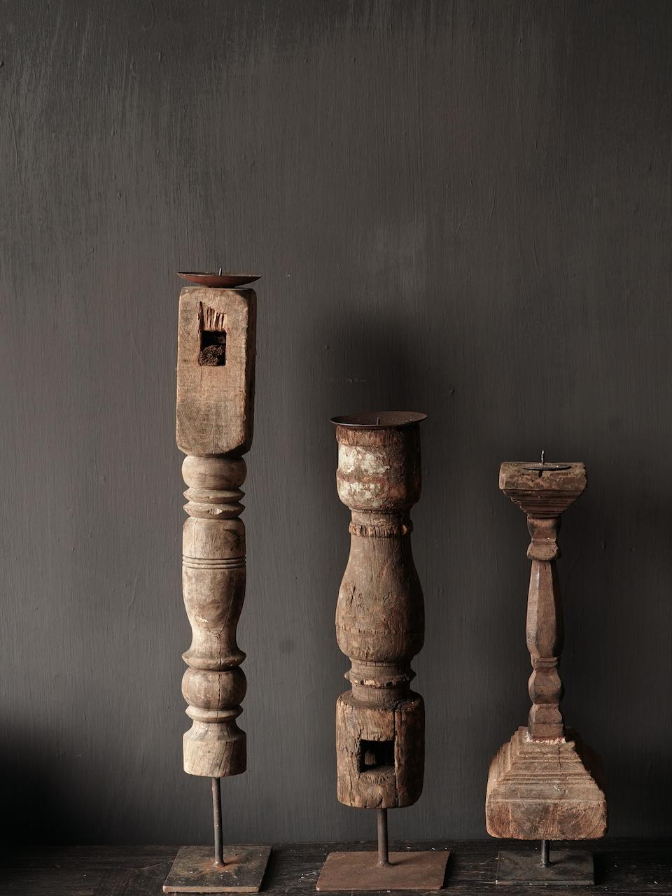 Houten Nepalese kandelaar van oud ornament-4