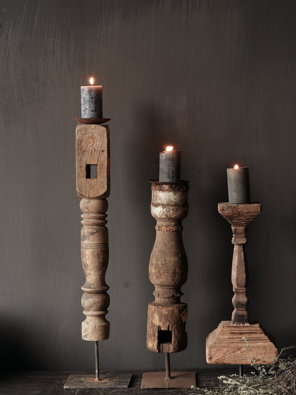 Wooden Nepalese candlestick made of old ornament-5