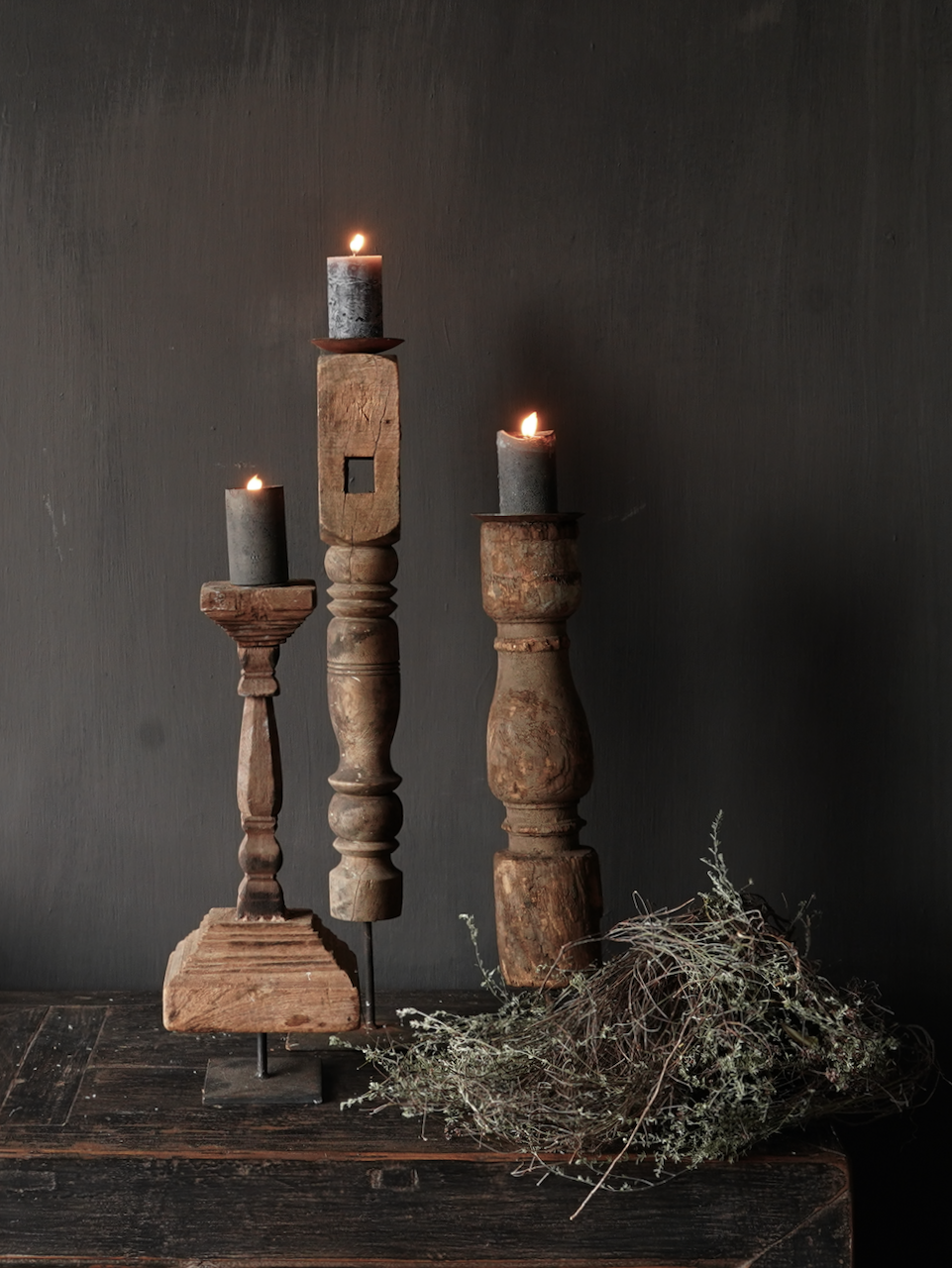 Wooden Nepalese candlestick made of old ornament-6