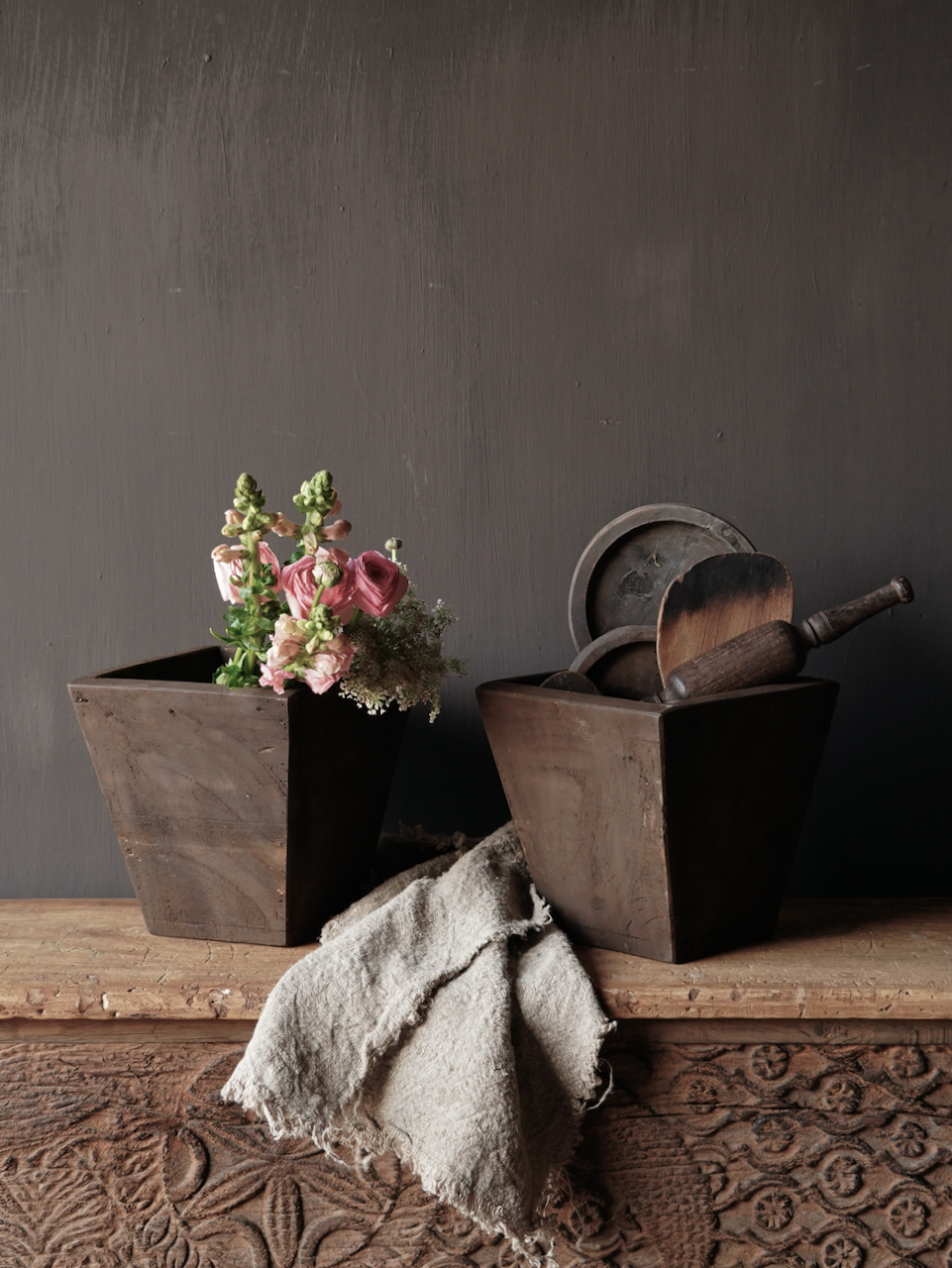 Tapered old wooden tray-1