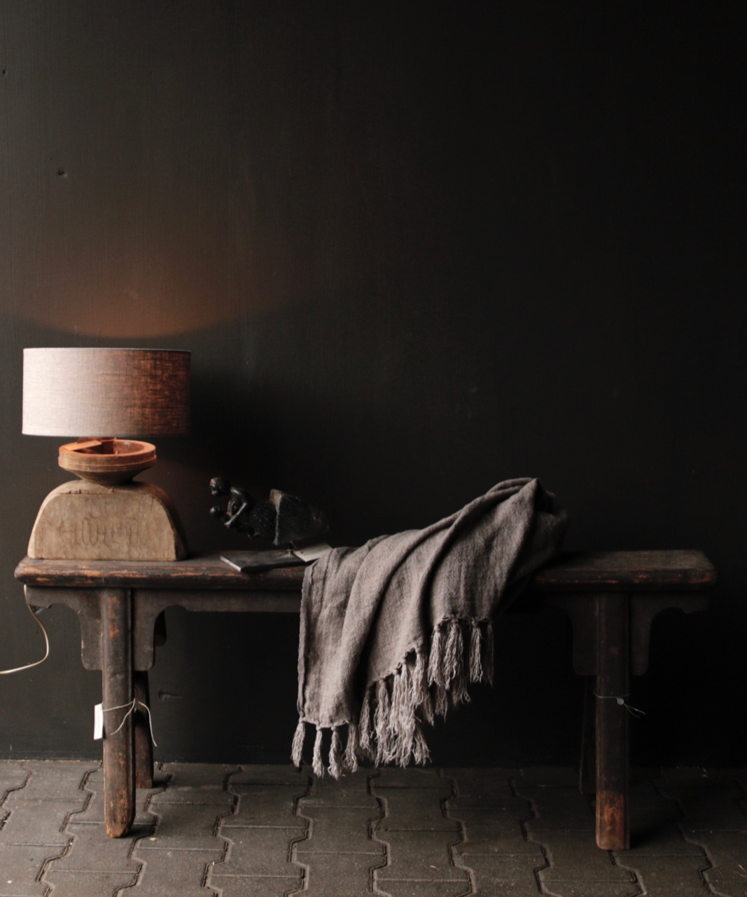 Table lamp made of old wooden ornament-5