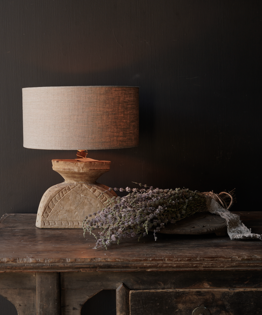 Table lamp made of old wooden ornament-1