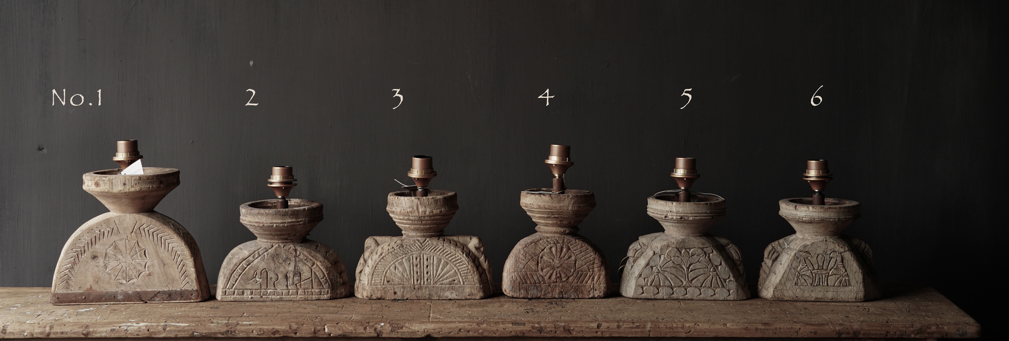 Table lamp made of old wooden ornament-2
