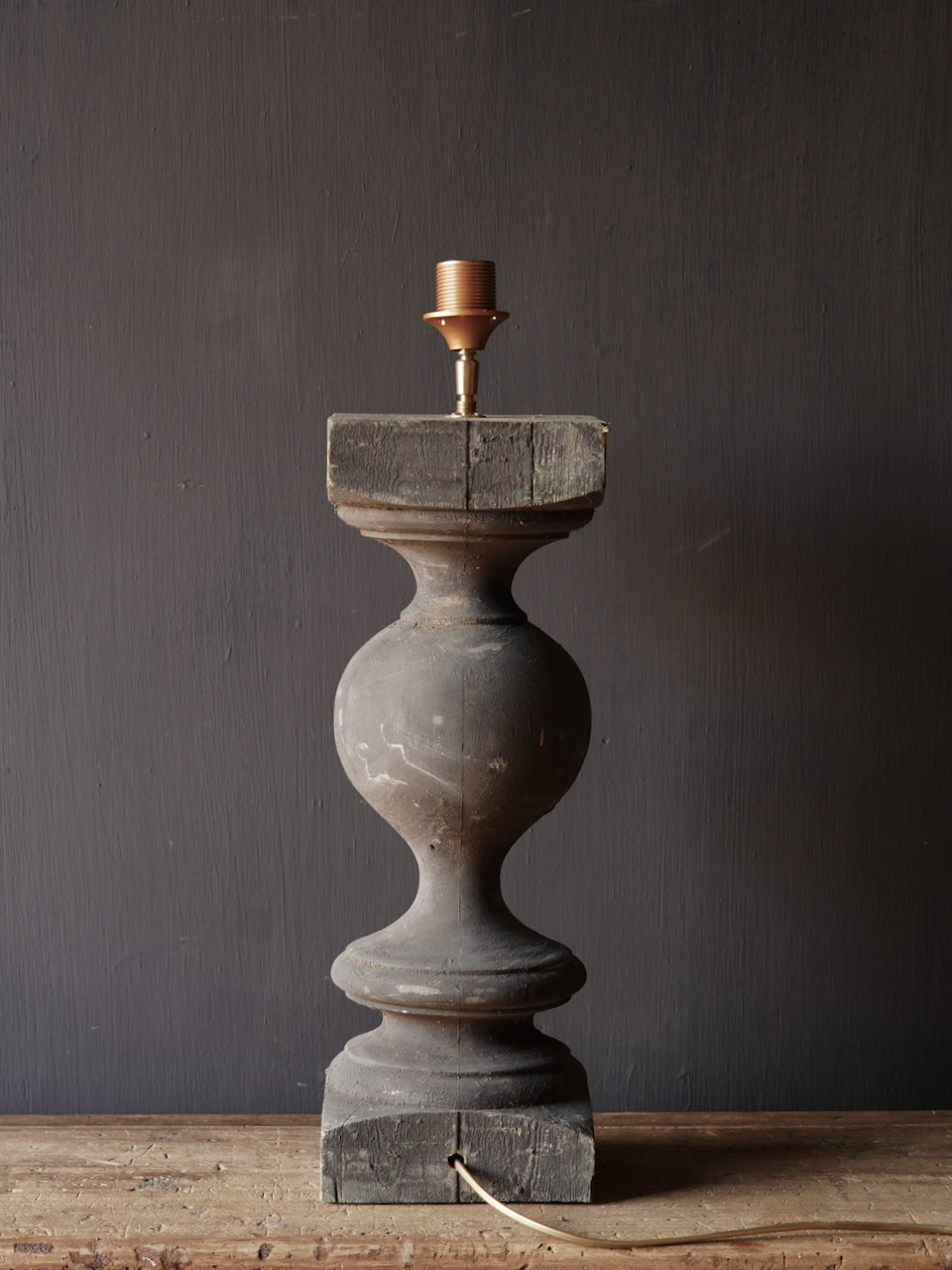 Old wooden baluster lamp-5