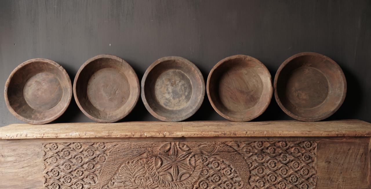 Oude Authentieke houten schaal-3