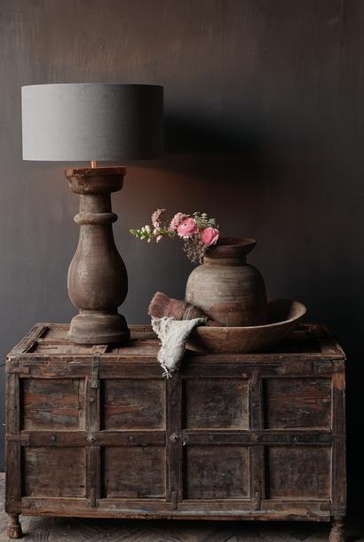 Stoer houten baluster Lamp voet