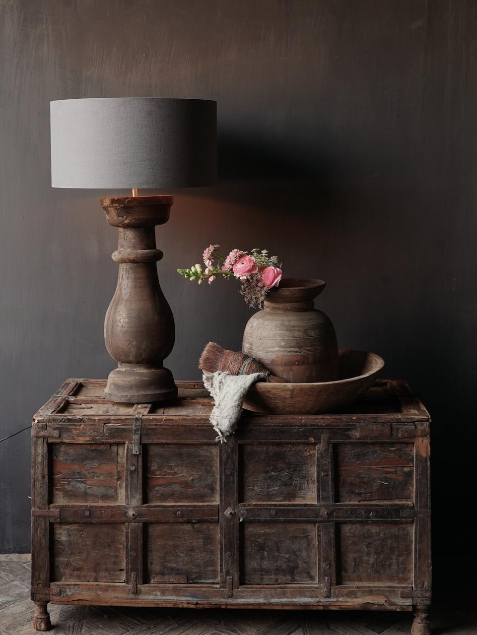 Stoer houten baluster Lamp voet-1