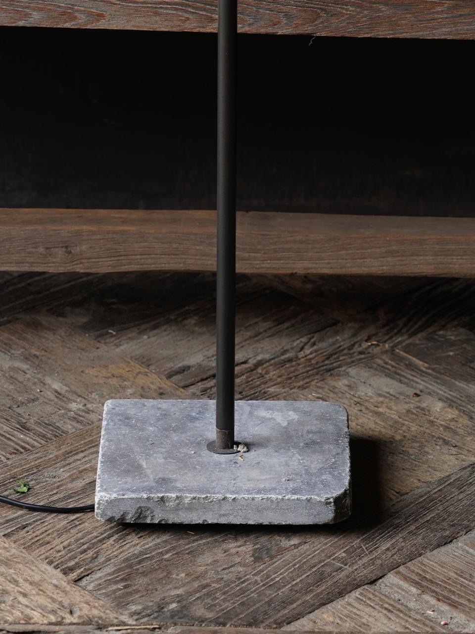 iron floor lamp on a natural stone base Aura Peeperkorn-3
