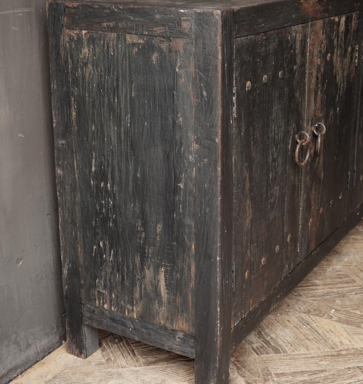 Tv Cabinet / Sideboard of old black / brown robust wood-4