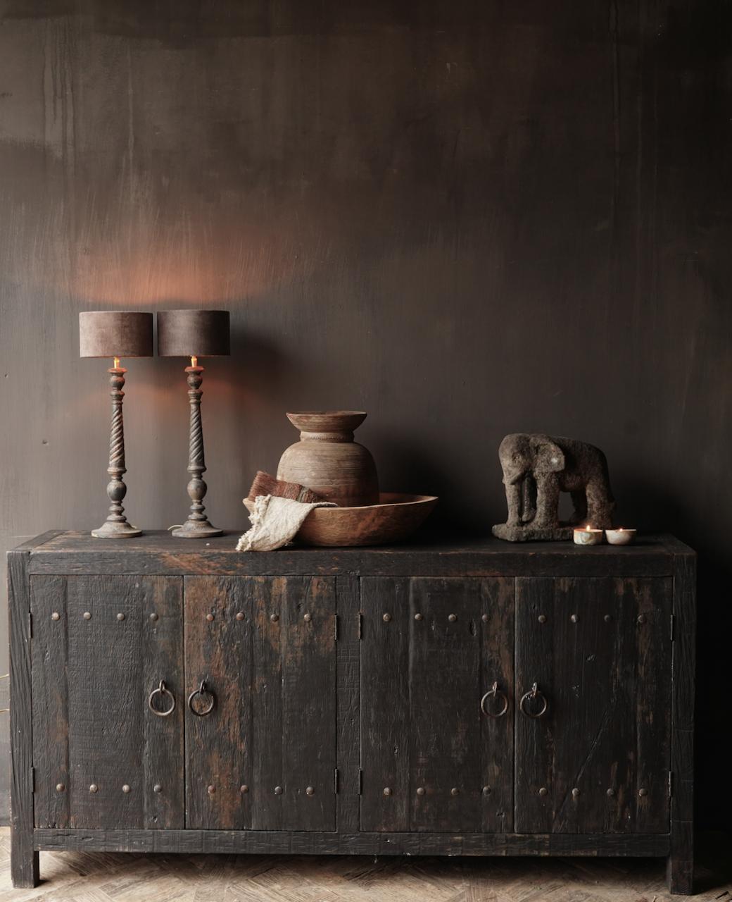 Tv Cabinet / Sideboard of old black / brown robust wood-2