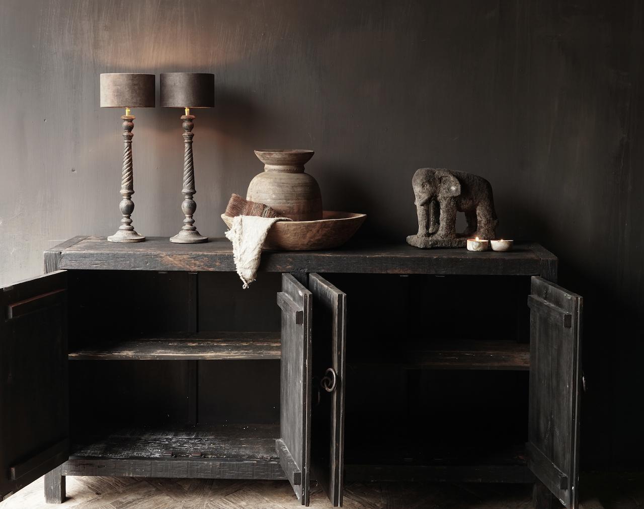 Tv Cabinet / Sideboard of old black / brown robust wood-3