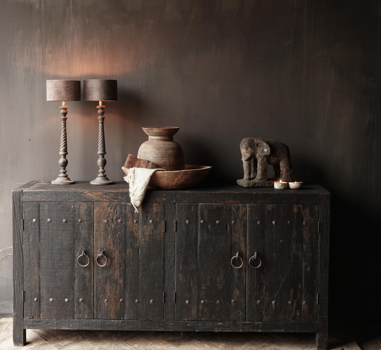 Tv Cabinet / Sideboard of old black / brown robust wood-5