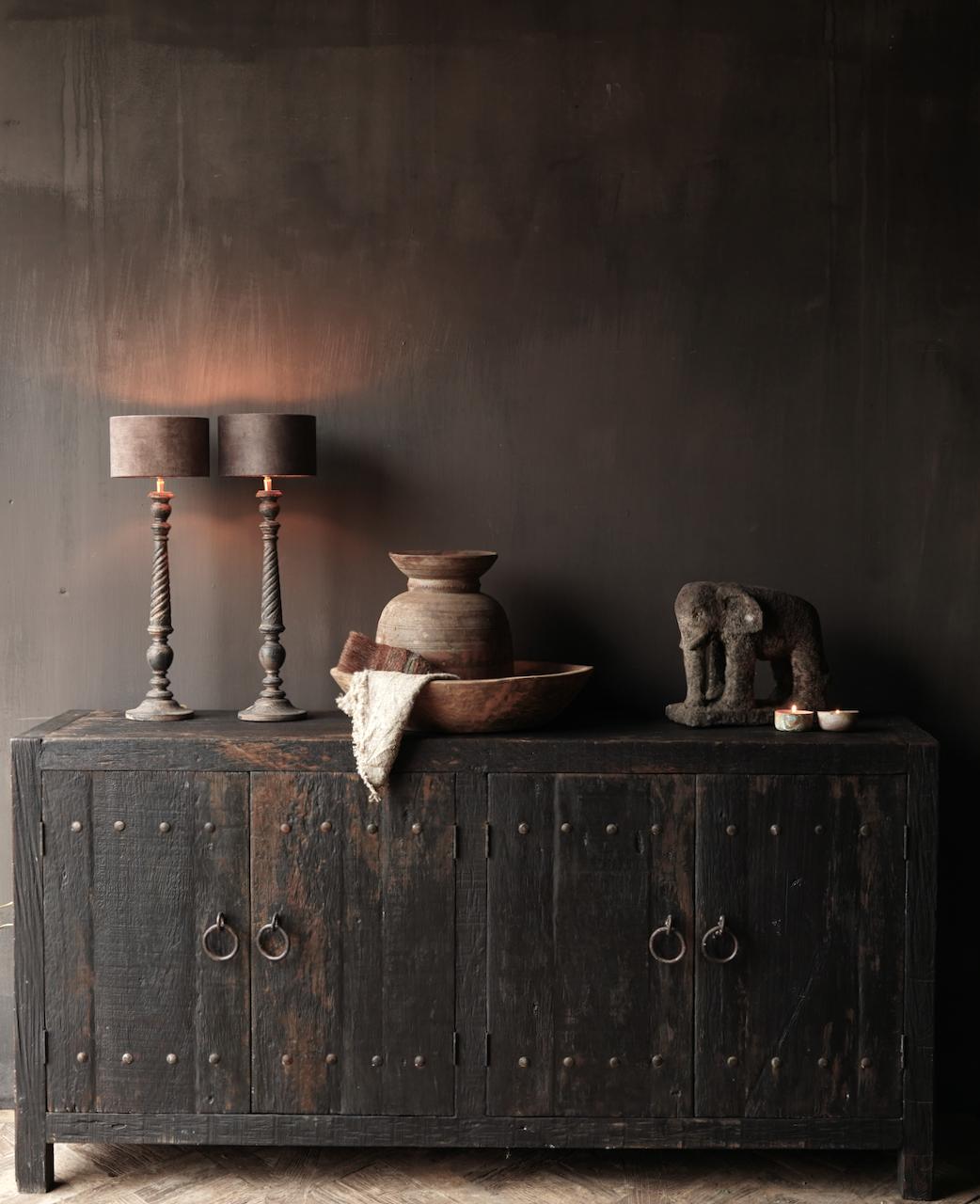 Tv Cabinet / Sideboard of old black / brown robust wood-1