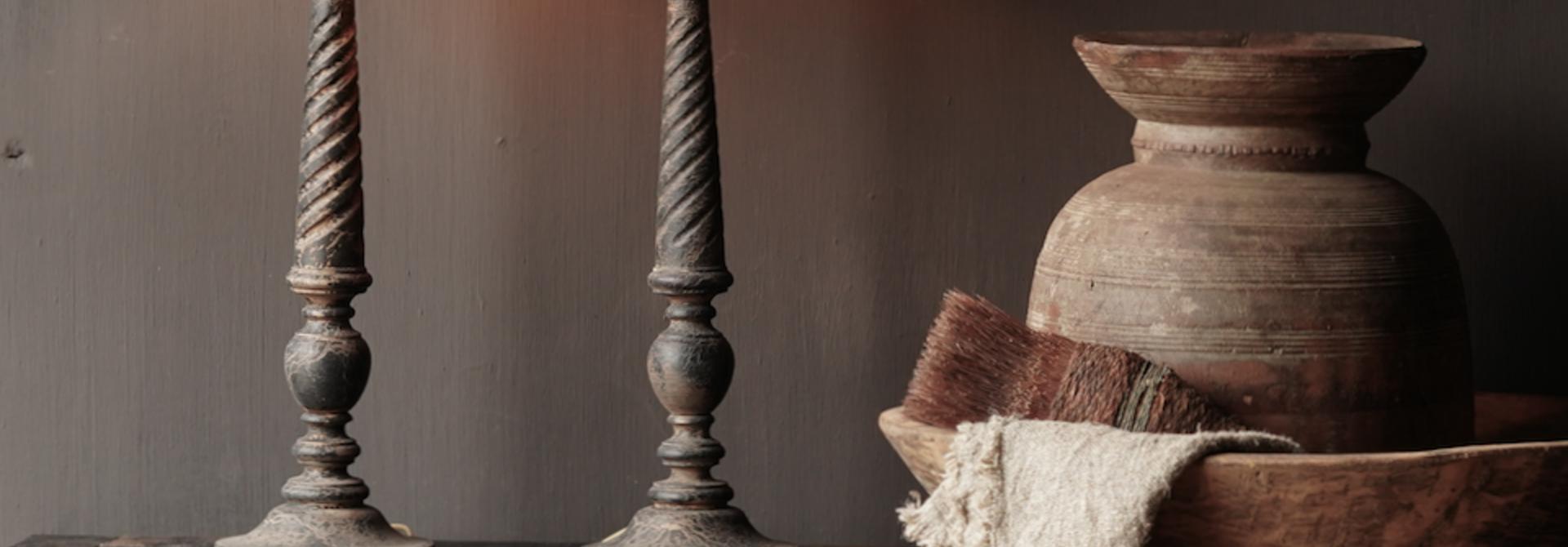 Dark Black / Brown Wooden lamp including shade