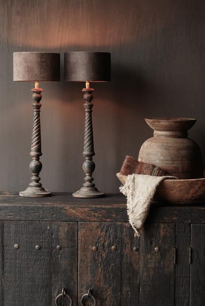 Donker Zwart/Bruin Houten lamp inclusief kapje