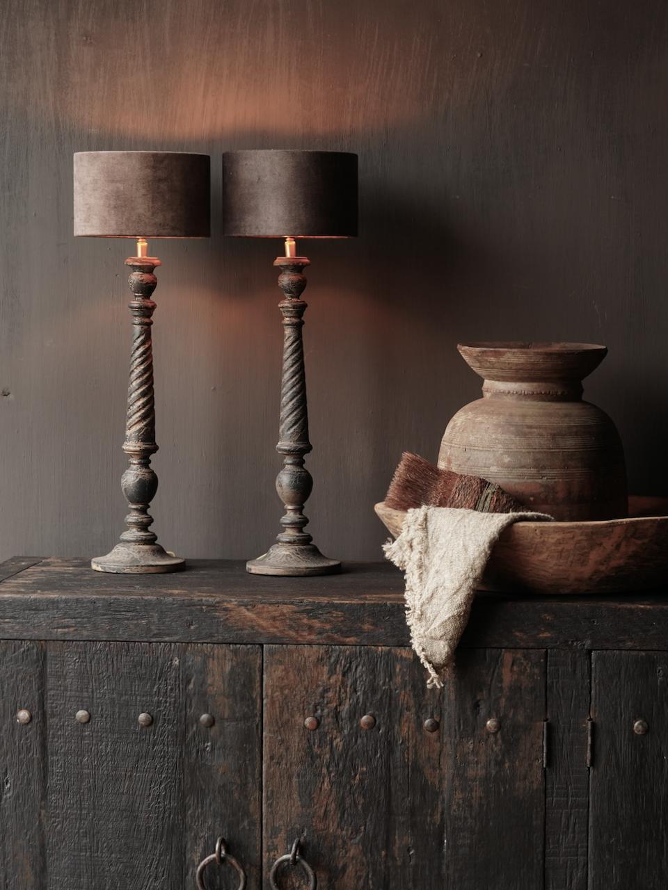 Dark Black / Brown Wooden lamp including shade-1