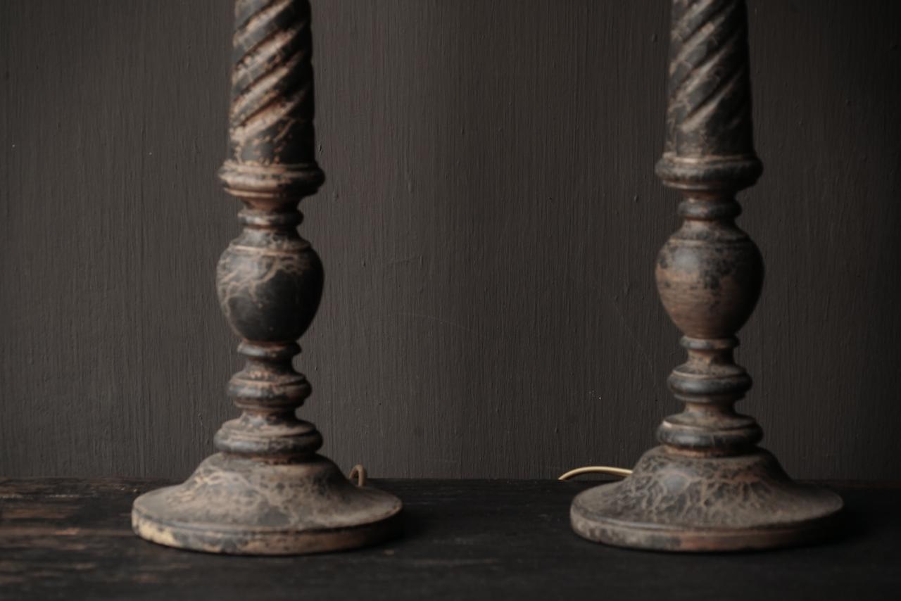 Dark Black / Brown Wooden lamp including shade-3