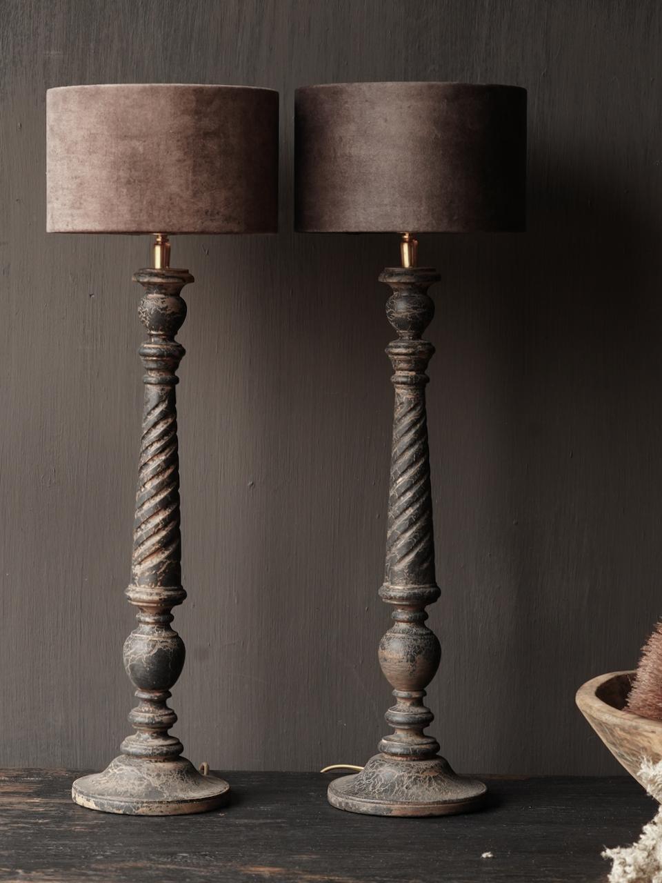 Dark Black / Brown Wooden lamp including shade-2