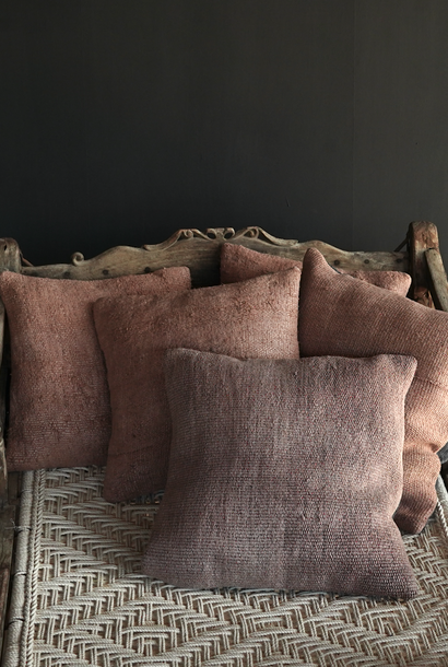 Beautiful cool salmon color kilim hemp pillow