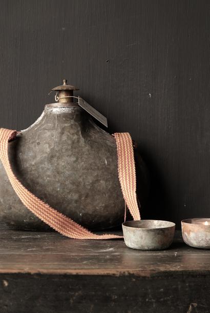 Alte antike Metallfeldflasche Indien