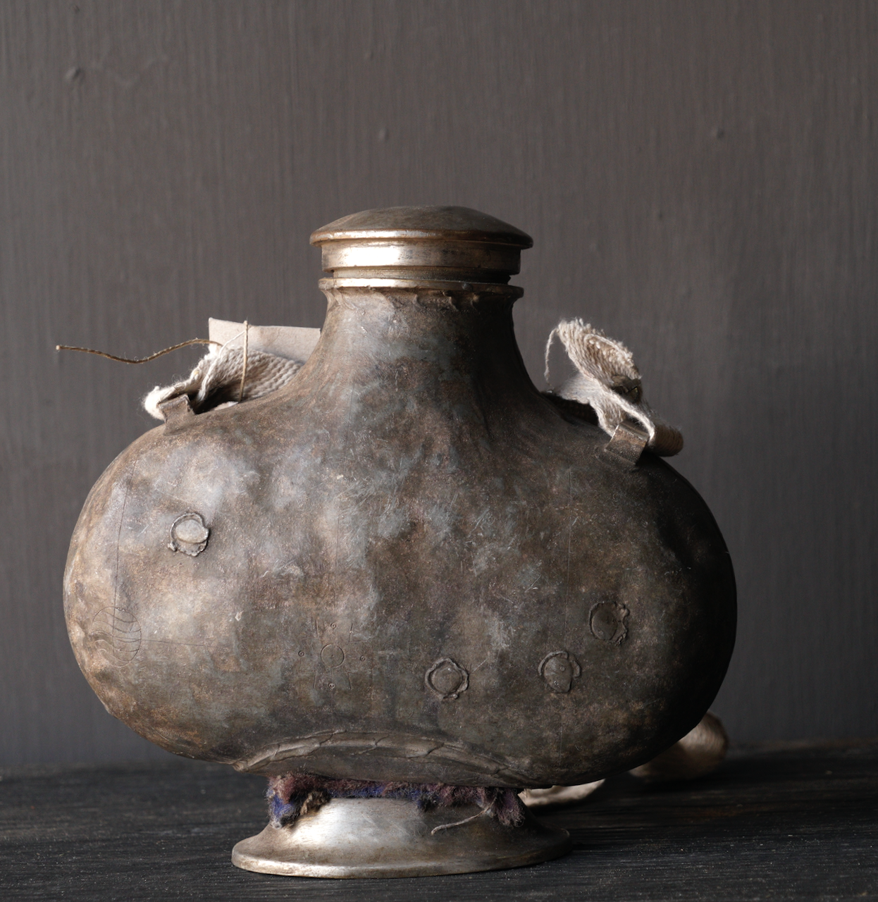 Old Antique Metal field bottle India-4