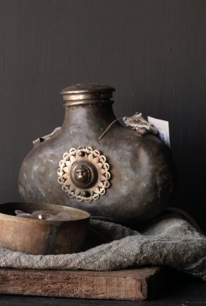 Oude Antieke Metalen veld fles India
