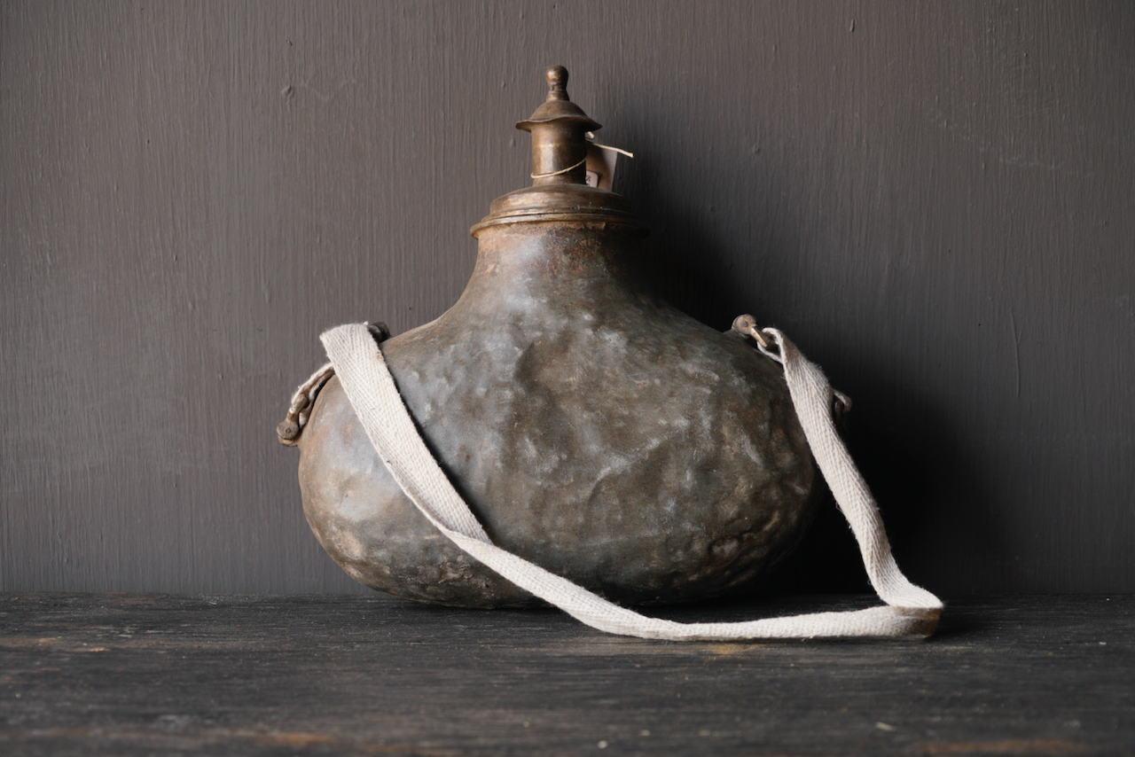 Old Antique Metal field bottle India-3