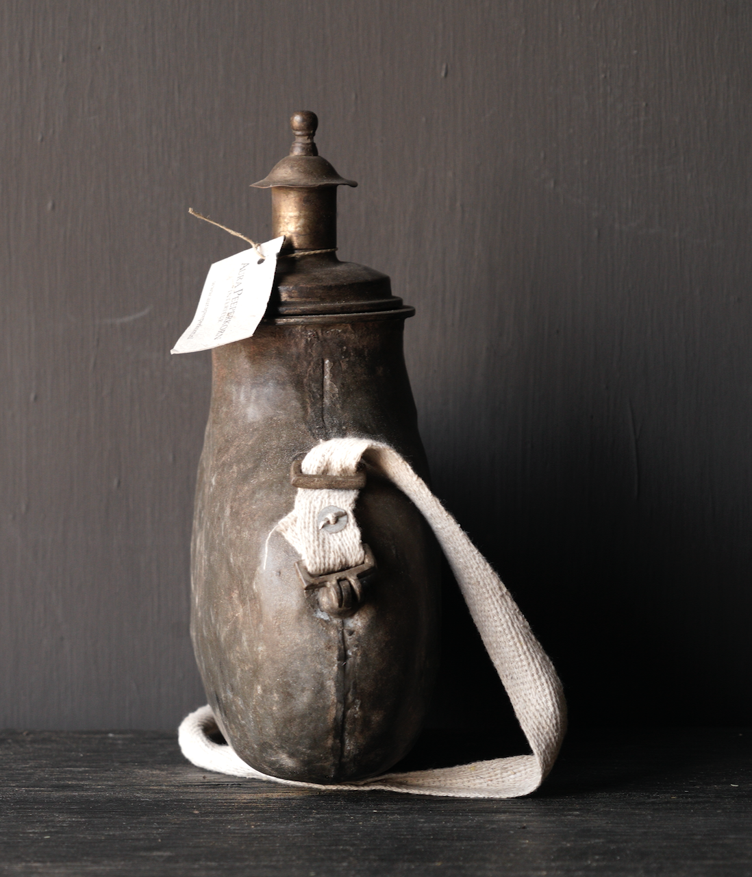 Old Antique Metal field bottle India-2