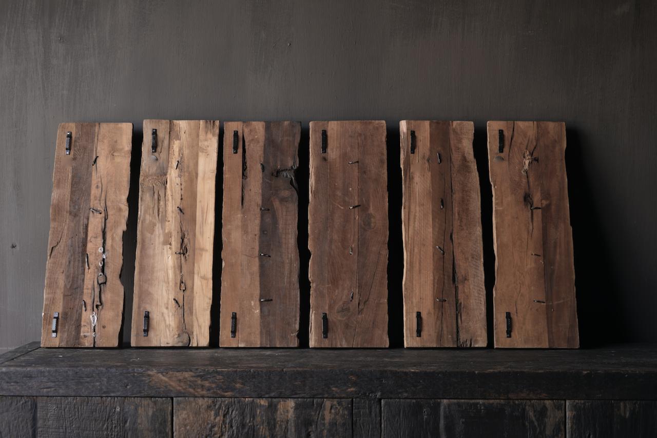 Kapstok van oud hout met  ijzeren haken-4