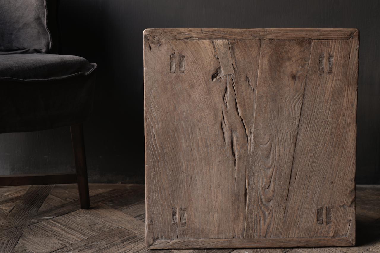 Oud Authentiek houten Salon/bijzet Tafeltje vierkant Uniek item-2