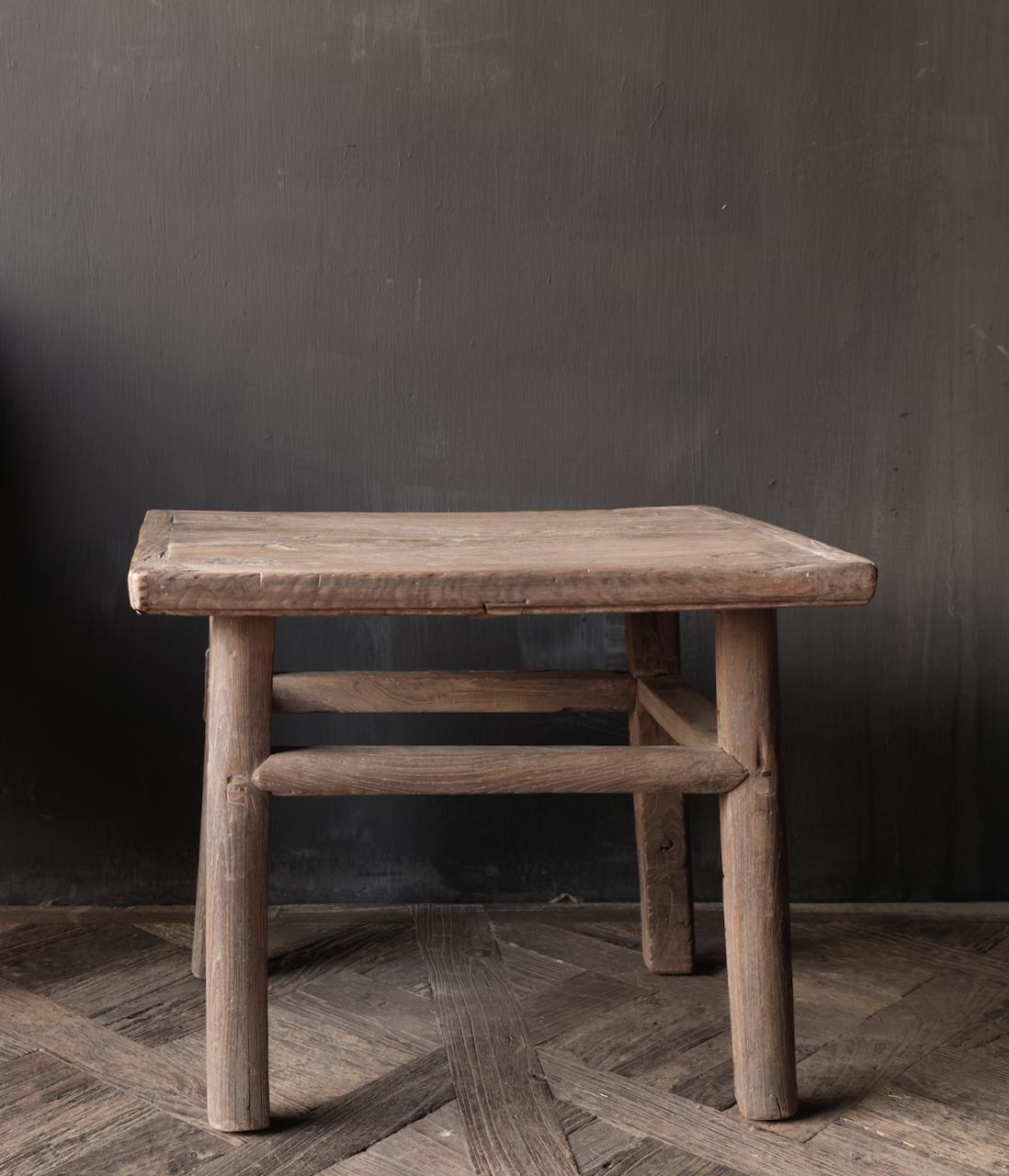 Oud Authentiek houten Salon/bijzet Tafeltje vierkant Uniek item-4