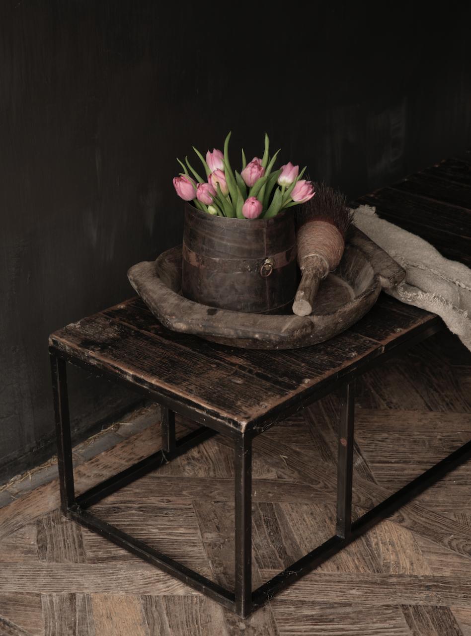 Salontafel van oude plankjes  met ijzeren onderstel-5